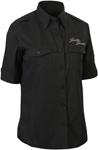 Throttle Threads Women's FLOWER SKULL Shop Shirt (Black)
