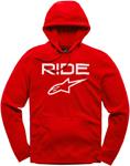 Alpinestars RIDE 2.0 Fleece Pullover Hoody Sweatshirt (Red/White)