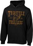 Throttle Threads Men's FLYING SKULL Pullover Hoodie/Sweatshirt (Black)