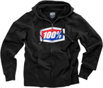 100% MX Motocross OFFICIAL Zip-Up Sweatshirt Hoody (Black)