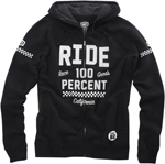 100% MX Motocross FLAT TRACK Zip-Up Sweatshirt Hoody (Black)