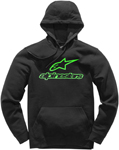 Alpinestars ALWAYS II Fleece Pullover Hoody Sweatshirt (Black/Green)