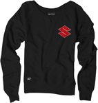 Factory Effex Official Licensed Women's SUZUKI Crew Sweatshirt (Black)