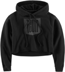 Icon 1000 Women's STACKER Crop Hoody Sweatshirt (Black)