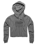 Thor MX Motocross Women's Goods Crop Fleece Hoodie Sweatshirt (Gray)