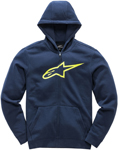 Alpinestars Kid's AGELESS Fleece Zip-Up Hoody Sweatshirt (Navy/Hi Vis Yellow)