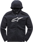 Alpinestars Kid's AGELESS Fleece Zip-Up Hoody Sweatshirt (Black/White)
