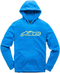 Alpinestars Kid's BLAZE Fleece Pullover Hoody Sweatshirt (Blue/Hi Vis Yellow)