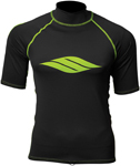 Slippery Wetsuits - Men's RASHGUARD Short Sleeve Shirt (Black/Green)