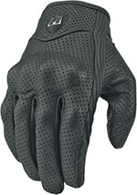 ICON Pursuit Perforated Short Leather Motorcycle Gloves (Black)