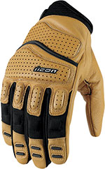 ICON Super Duty 2 Perforated Short Gauntlet Motorcycle Gloves (Tan)