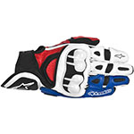 ALPINESTARS GPX Leather Motorcycle Gloves (White/Red/Blue)