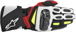 Alpinestars SP-2 Vented Long Cuff Leather Motorcycle Gloves (Black/White/Yellow/Red)