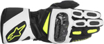 ALPINESTARS SP-2 Vented Long Cuff Leather Motorcycle Gloves (Black/White/Yellow)