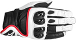 ALPINESTARS Celer Leather Short Cuff Touch Screen Motorcycle Gloves (White/Black/Red)