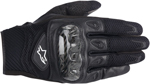 ALPINESTARS S-MX 2 Air Carbon Mesh Short Cuff Touch Screen Motorcycle Gloves (Black)