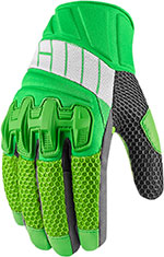 ICON OVERLORD 2 Mesh Leather/Textile Short Motorcycle Gloves (Green)