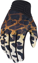 ICON 1000 Ladies CHEETER Textile Motorcycle Gloves (Cheetah Print)