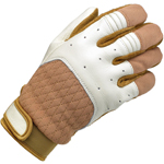 BILTWELL Bantam Leather/Textile Motorcycle Gloves (White/Tan)