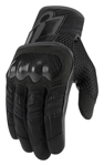 ICON MotoSports Women's OVERLORD Textile/Leather Touchscreen Riding Gloves (Black)