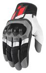 ICON MotoSports OVERLORD Textile/Leather Touchscreen Riding Gloves (Black/White/Grey/Red)