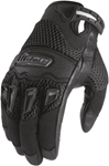 Icon MotoSports Women's Twenty-Niner Leather/Textile Gloves CE Certified (Black)