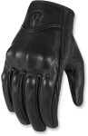 Icon MotoSports Women's Pursuit Leather Gloves CE Certified (Black)