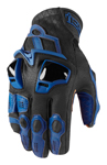 Icon Motosports HYPERSPORT Short Leather Riding Gloves (Blue)