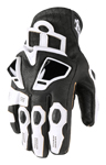 Icon Motosports HYPERSPORT Short Leather Riding Gloves (White)