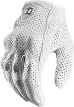 ICON Ladies Pursuit Perforated Short Motorcycle Gloves (White)