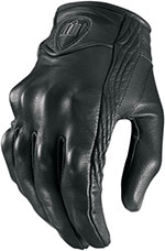 ICON Ladies Pursuit Leather Short Motorcycle Gloves (Stealth/Black)