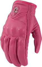 ICON Ladies Pursuit Leather Short Gauntlet Motorcycle Gloves (Pink)