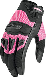ICON Ladies Twenty-Niner Short Gauntlet Motorcycle Gloves (Pink)