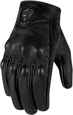 ICON Ladies Pursuit Perforated Touchscreen Motorcycle Gloves (Black)
