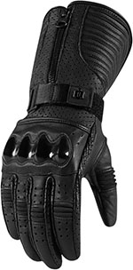 ICON 1000 Ladies FAIRLADY Long Leather Motorcycle Gloves (Black)