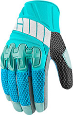 ICON Women's OVERLORD Mesh Leather/Textile Short Motorcycle Gloves (Blue)