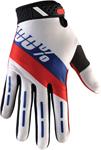 100% MX Motocross RIDEFIT Honor Gloves (White/Red/Blue)