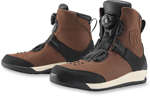 Icon Motosports PATROL 2 Waterproof BOA CE Certified Motorcycle Boots (Brown)