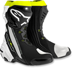 Alpinestars SUPERTECH R Leather Motorcycle Riding/Race Boots (Black/White/Flo Yellow)