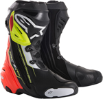 Alpinestars SUPERTECH R Leather Motorcycle Riding/Race Boots (Black/Red/Flo Yellow)