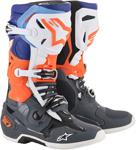 Alpinestars MX Motocross Tech 10 Boots (Cool Gray/Orange Fluo/Blue/White)