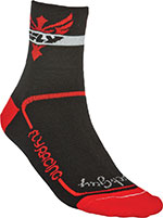 FLY RACING Action Socks, Stretch-To-Fit Sizing (Black/Red)