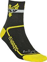 FLY RACING Action Socks, Stretch-To-Fit Sizing (Black/Yellow)