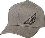FLY Racing MX Motocross MTB BMX - F-WING Curved Bill Flex-Fit Hat/Cap (Grey)