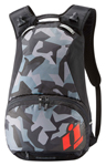 ICON Stronghold Motorcycle Backpack w/ Laptop Compartment (Black/Camo/ Red Rain Cover)