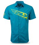 FLY RACING 2017 Pit Shirt, Short Sleeve Slim Fit (Teal/Lime)