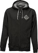 FLY Racing MX Motocross MTB BMX - Patch Zip-Up Hoodie Sweatshirt (Black)