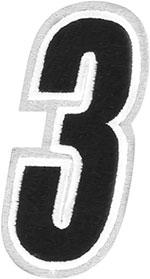 AMERICAN KARGO Gear Bag Number Patch #3 Three (White/Black)