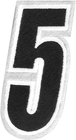 AMERICAN KARGO Gear Bag Number Patch #5 Five (White/Black)