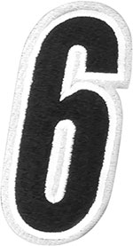 AMERICAN KARGO Gear Bag Number Patch #6 Six (White/Black)